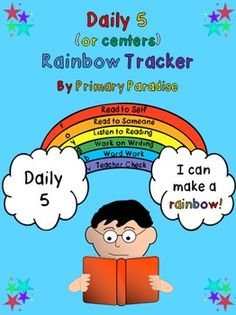 Daily 5 (or centers) Rainbow Tracker Freebie by Primary Paradise Daily 5 Reading, Common Core Reading, Guided Reading, Continue Reading, Daily 5 Activities, Teaching Activities, Teaching Ideas, Teaching Tools, Education And Literacy