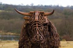 Taking the bull by the horns    My Pad out-take.  This is in Wild Garden at The National Botanic Gardens of Wales and is 'Tarw' the Welsh Black bull, by Sally Matthews. This sculpture was commissioned for the National Botanic Garden of Wales by the Contemporary Arts Society for Wales (CASW)