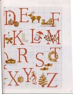 Pto d cruz 1 Xmas Cross Stitch, Cross Stitch Letters, Just Cross Stitch, Cross Stitch Needles, Cross Stitch Charts, Cross Stitch Designs, Cross Stitching, Cross Stitch Embroidery, Stitch Patterns