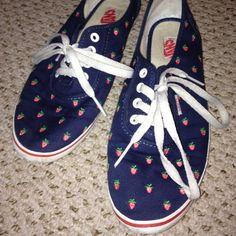 cute strawberry vans shoes