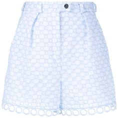Carven Broderie-Anglaise Cotton Shorts ($104) ❤ liked on Polyvore featuring shorts, blue, cut out shorts, blue cotton shorts, blue shorts, tailored shorts and cotton shorts
