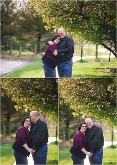 couple hugging under a tree in Indianapolis for engagement pictures - poses for older couple engagement session