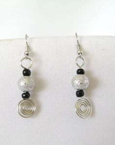 Silver Black Dangle Earrings  Silver Wire Wrapped by 2012BellaVida, $10.00