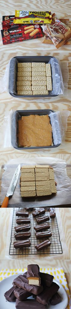 How to make twix bars! all pre-made ingredients-duh!