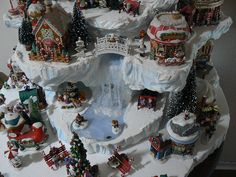 North Pole display mountain by 56th and Main, love the waterfall