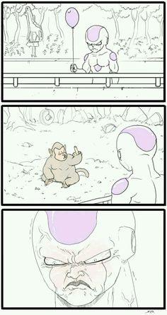 The real reason Frieza hates Saiyans and calls them monkeys! Dragon Ball Gt, Dragon Ball Image, Anime Meme, Otaku Anime, Dbz Memes, Funny Memes, Dragonball Super, Funny Dragon, Funny Comics