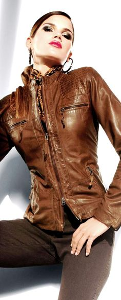 yummy whiskey colored leather jacket ❤♔Life, likes and style of Creole-Belle ♥