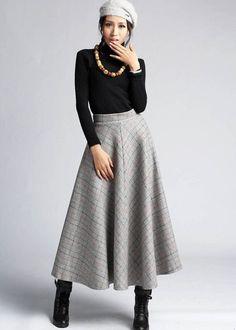 plaid skirt wool skirt winter skirt maxi skirt 412 by xiaolizi, $79.00: