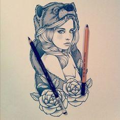 Woman, bear, roses tattoo flash #Mormont #ASOIAF