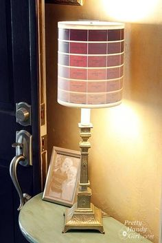 DIY Ombre' Paint Chip Lamp - can make any color combo your little heart desires! Paint Chip Art, Paint Chips, Wooden Lampshade, Lampshades, Lampshade Ideas, Lamp Shade Crafts, Pottery Barn, Rustic Lamp Shades, Ceiling Lamp Shades