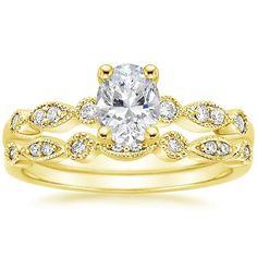 Oval Cut Tiara Wedding Ring Set - 18K Yellow Gold