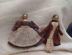 19thC Grodnertal wooden doll in Original Clothing