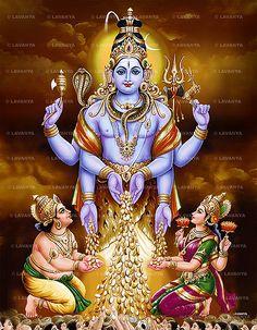 Swarna Bhairava-Shiva Avatar Giving boons to Lord Kubera And Goddess Lakshmi to be Deities of wealth God Hindu Shiva, Shiva Parvati Images, Lakshmi Images, Hindu Deities, Lakshmi Photos, Hanuman Images, Hindu Rituals, Hindu Art, Lorde Shiva