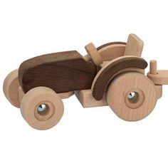 Jouet tracteur en bois avec remorque Goki Nature