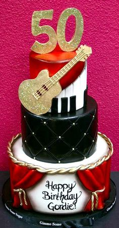 Image via Electric Guitar Cake Image via Guitar shape cake Music Themed Cakes, Music Cakes, Unique Cakes, Creative Cakes, Bolo Musical, Cupcakes Decorados, Guitar Cake, 50th Birthday, Birthday Cakes