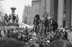 Abbie Hoffman of the Chicago Seven is pictured as he addressed the Black Panther rally on May 1, 1970 in New Haven, Conn. (AP Photo)