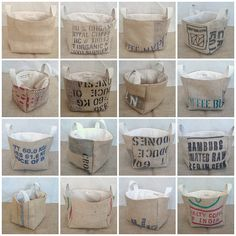 burlap coffee sack buckets.....I'll be making some of these.  Great storage for toys, dog toys, magazines, etc.                                                                                                                                                                                 More
