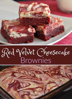 These Red Velvet Cheesecake Brownies are the best moist brownies for Valentine's Day and easy to make too. These Red Velvet Cheesecake Brownies are the best moist brownies for Valentine's Day and easy to make too. Red Velvet Cheesecake Cupcakes, Cheesecake Swirl Brownies, Red Velvet Desserts, Red Velvet Brownies, Red Velvet Recipes, Red Velvet Cake Mix, Brownie Cake, Fudgy Brownies, Mocha Cupcakes