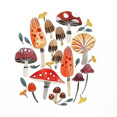 autumn illustration Seeing all the gorgeous autumn illustrations in my feed has inspired me to draw some mushrooms + fall leaves despite the fact that its spring here where I live x hope you like it! I sure had fun drawing x Mushroom Drawing, Mushroom Art, Autumn Art, Autumn Leaves, Autumn Prints, Posca Art, Leaf Drawing, Fall Leaves Drawing, Autumn Illustration