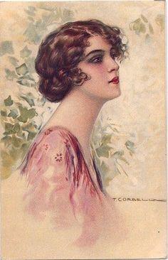 'Beautiful Dark Eyed Woman' Postcard. 1920.