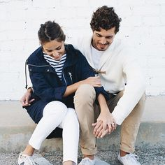 Afternoon walks with a Gap striped tee and 3-in-1 parka is how blogger @viewfromthetopp does Venice. Her fiancé, artist @davidkitz goes for our toggle shawl cardigan. #Styldby  Shop Kate and her fiancé's look through our profile look.