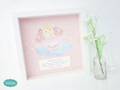 Schutzengel Bild Kunstdruck Engel auf der Wolke rosa, Taufsprüche Bibelzitate