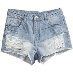 H&M Worn denim shorts (€7,38) ❤ liked on Polyvore featuring shorts, bottoms, pants, short, light denim blue, blue short shorts, blue denim shorts, short jean shorts, h&m shorts and short shorts