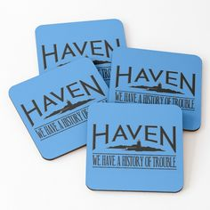 """Haven Trouble Black Logo"" Coasters (Set of 4) by HavenDesign 