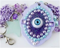 Kawaii Eyeball Necklace, Resin Cameo Pendant, Purple and Teal - Pastel Goth, Decora