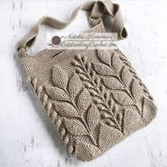 Embossed Crochet Bag out of Scheepjes Linen Soft yarn is finished! I replaced round bottom with rounded rectangle to best fit cross-body. Crochet Leaves, Crochet Motifs, Crochet Stitches, Crochet Chain, Crochet Handbags, Crochet Purses, Knitting Patterns, Crochet Patterns, Purse Patterns