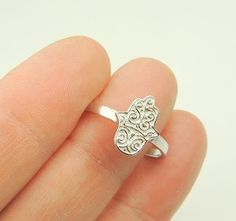 Sterling Silver Ring Hand of Hamsa Ring Silver by KissingRavens, $26.00