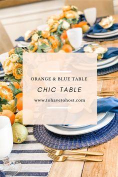 Navy blue tablescape. Orange tablescape. Chic tablescape ideas. Dinner party ideas. Orange & blue decor. Orange Table, Summer Design, French Country Decorating, Floral Centerpieces, Xmas Decorations, Seasonal Decor, Tablescapes, Crisp, Living Room Decor
