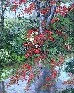 "A Royal Reflection by Annie St Martin Oil ~ 20"" x 16""-Florida Landscape,Coastal Landscape Painting, Flowers,Water ""A Royal Reflection"" Florida Impressionism Artist Annie St Martin-http://anniestmartinartist.com/works/1307564/a-royal-reflection"