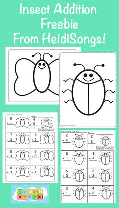 Insect Addition Freebie from HeidiSongs! Subtraction Kindergarten, Kindergarten Freebies, Preschool Math, Kindergarten Classroom, Fun Math, Teaching Math, Math Activities, Kindergarten Addition, Math 2