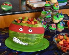Ninja Turtle Party add candy or treat instead