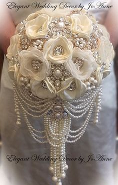 Glam Bouquets provides custom-made bridal brooch bouquets. Pearl Bouquet, Wedding Brooch Bouquets, Pearl Brooch, Boquet, Cascading Wedding Bouquets, Peonies Bouquet, Broschen Bouquets, Purple Bouquets, Bridesmaid Bouquets