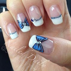 french Wonderful looking blue and white French tip. Adding the bow is simply a great id. Wonderful looking blue and white French tip. Adding the bow is simply a great idea to accentuate the nails as well as to give more life to the nail art. Fancy Nails, Cute Nails, Pretty Nails, White Tip Nail Designs, Cute Nail Designs, Hair And Nails, My Nails, Alice In Wonderland Nails, Sailor Moon Nails
