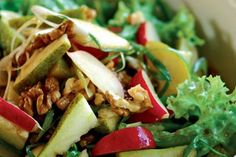 Pear and walnut salad with toasted sesame dressing