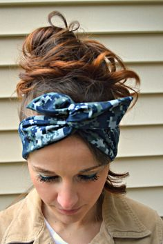 Aqua White Camo camouflage long tie wrap turban twist fabric headband head scarf