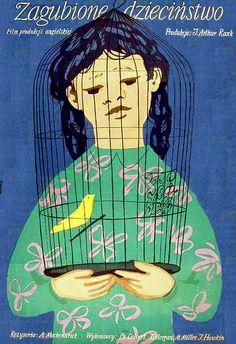 """Jan Lenica - Poster : """"ZAGUBIONE DZIECINSTWO"""", 1954"""