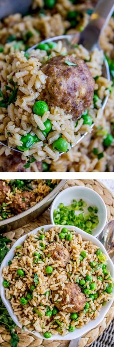 All Things Savory: One Skillet Beef Meatballs with Rice and Peas - Th...
