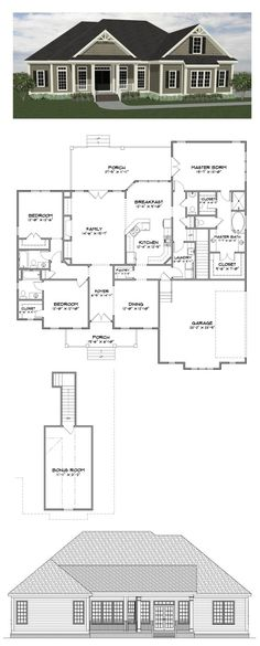 Plan SC-2282: ($770) 3 bedroom 3.5 bath home with 2282 heated square feet (bonus room adds 279 sf). This home plan is one of our most popular designs and is available for purchase online along with many others at stevecoxinc.net. Contact us today to modify this plan.