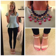 Cute girly date night outfit idea with statement necklace