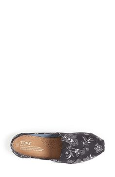 TOMS 'Classic - Black Floral' Canvas Slip-On (Women) | Nordstrom, $53.95