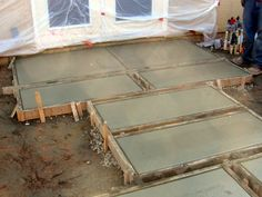 concrete pavers - cheap and can be stained and stamped