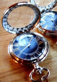 Blue Dial Pocket Watch with Chain Groomsmen by PocketwatchPurveyor, $65.00