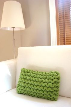 Super Chunky Knit Pillow, Spring Green inspiration. Tarn {T-shirt Yarn} http://www.tarnsa.co.za/