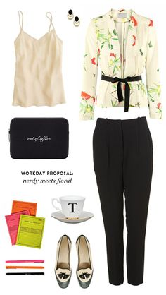 "Nerdy meets Floral by Note To Self    J.Crew silk cami $55 Dorothy Parker earrings $15 H&M blazer $25 Kate Spade ""out of office"" laptop sleeve $60 Top Shop trowsers $76 Adam's ""while you were out"" notepads $15 Everything Begins ABC cup and saucer $33 Le Pen .03mm pens $2 each J.Crew Toni loafers $268"