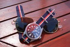 Hamilton watch on a navy red white nato strap!