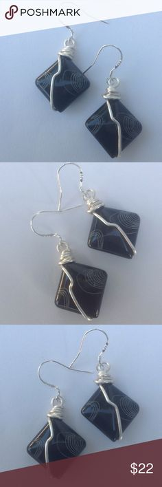 Etched Black Onyx Earrings Black onyx with a etched design. Great for any outfit. Handmade with sterling silver ear wires. Please check out my other items in my closet for a bundle discount. PRICE FIRM UNLESS BUNDLED. Cindylou's Design Jewelry Earrings